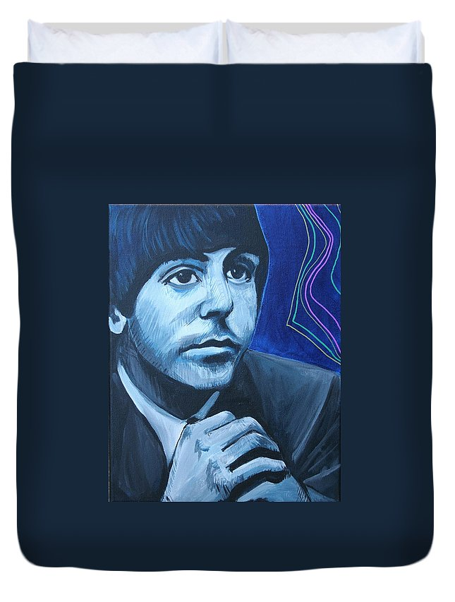 Beatles Duvet Cover featuring the painting Paul McCartney by Kate Fortin