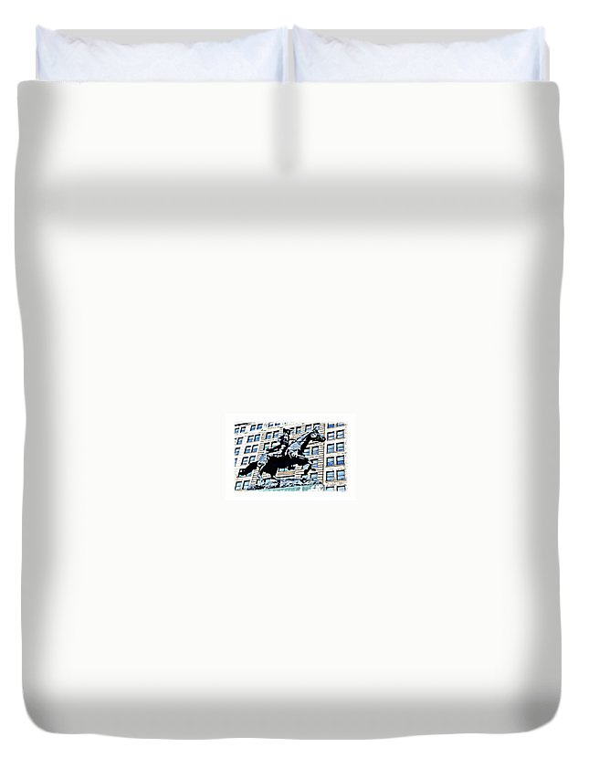 Paul Revere Statue Wilmington City Philadelphia Abstract Duvet Cover featuring the photograph Paul Revere Galloping Statue by Alice Gipson