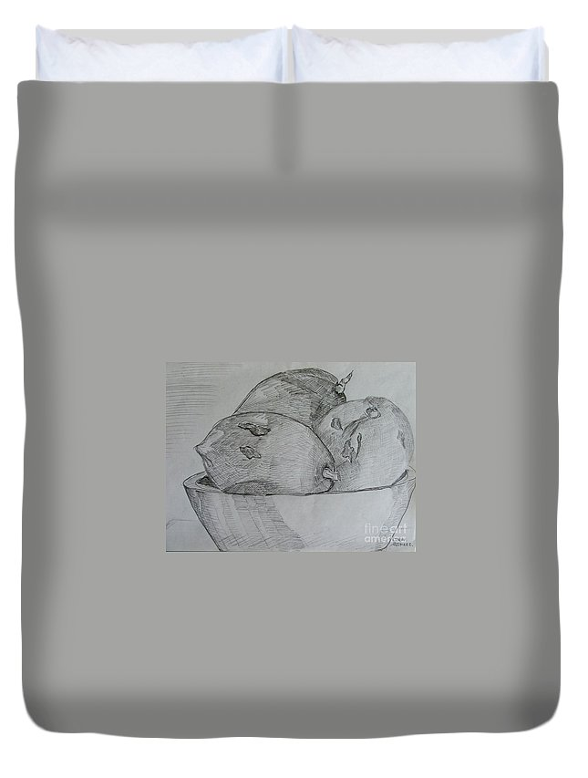 Fruit Duvet Cover featuring the drawing Paw-paw In Wooden Bowl by Caroline Street