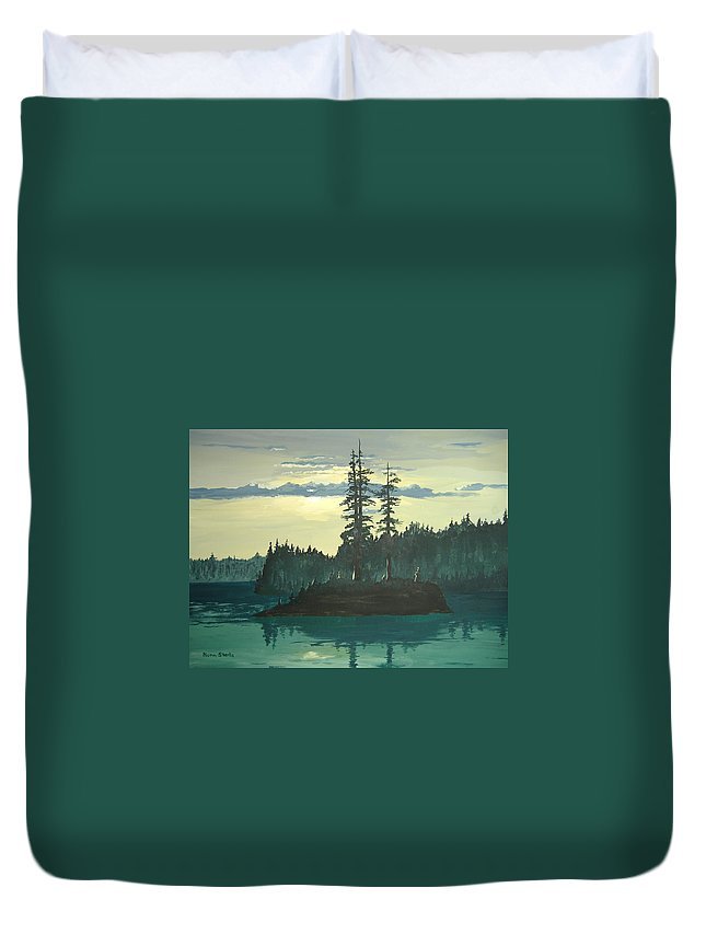 Landscape Duvet Cover featuring the painting Peace And Quiet by Norm Starks