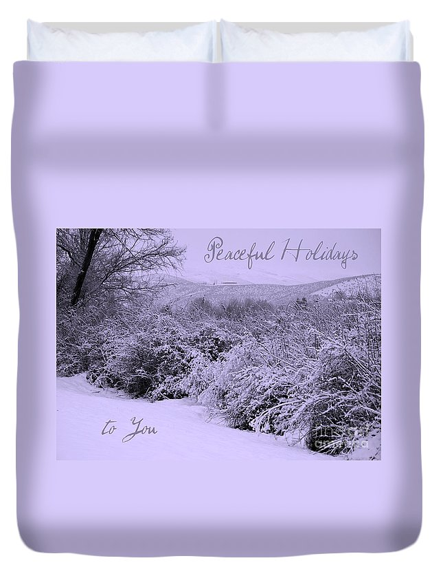 Peaceful Holiday Card Duvet Cover featuring the photograph Peaceful Holidays To You by Carol Groenen