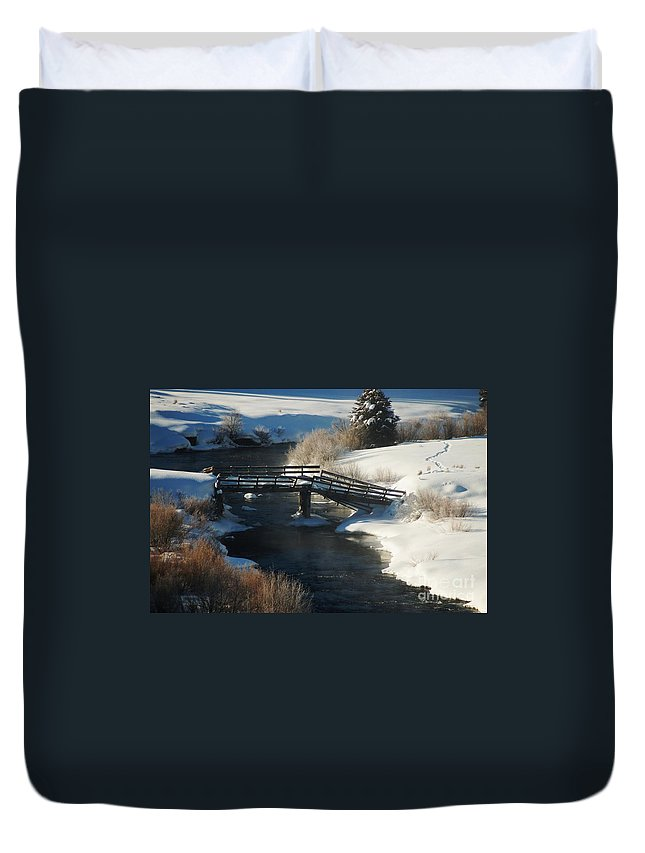 Snow Duvet Cover featuring the photograph Peaceful Winter Day by Lucy Bounds