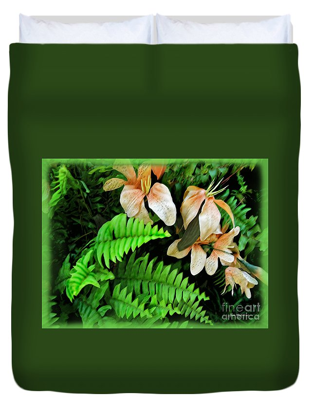 Lilies Duvet Cover featuring the photograph Peach Floral by Joan Minchak