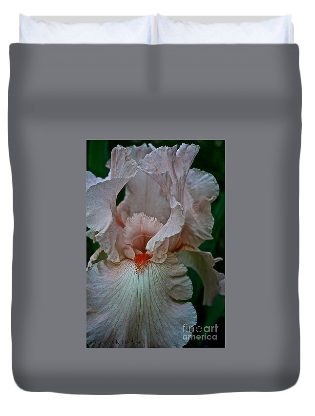 Plant Duvet Cover featuring the photograph Peach Iris by Susan Herber