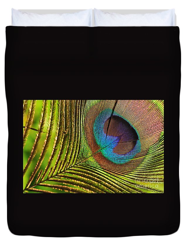 Photography Duvet Cover featuring the photograph Peacock Feather by Kaye Menner
