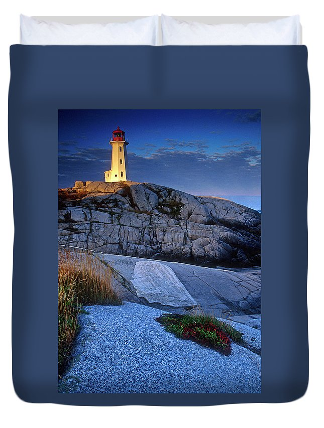 Lighthouse Duvet Cover featuring the photograph Peggys Cove Lighthouse Nova Scotia by Dave Mills