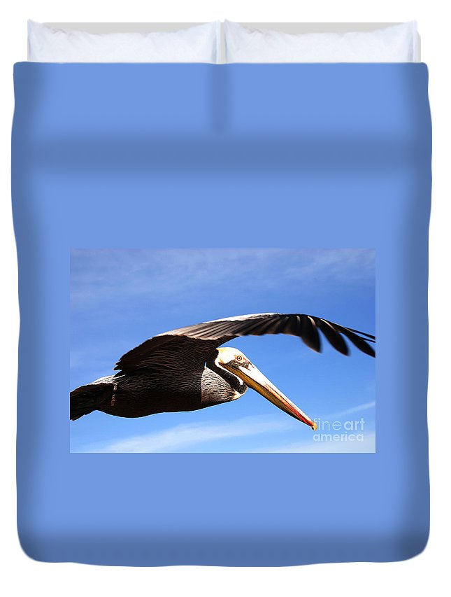 Pelican Duvet Cover featuring the photograph Pelican In Flight by Susanne Van Hulst