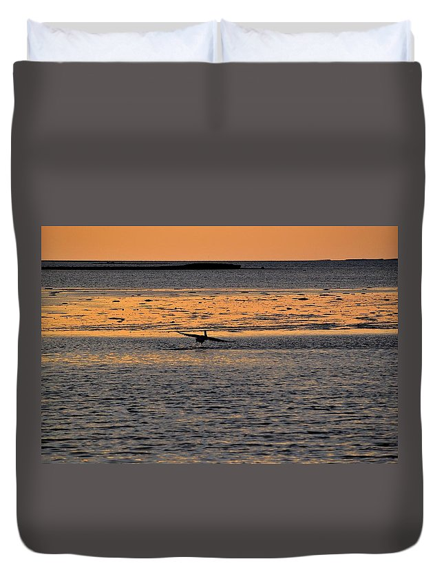 Gulf Duvet Cover featuring the photograph Pelican Lift-off by Kari Tedrick