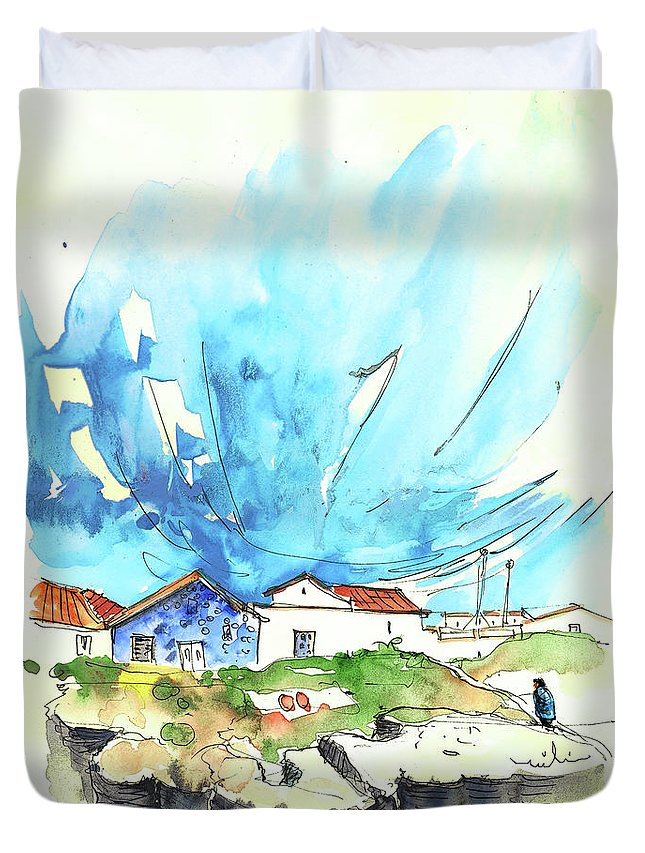 Peniche Duvet Cover featuring the painting Peniche in Portugal 04 by Miki De Goodaboom