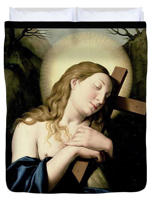 Religion Duvet Cover featuring the painting Penitent Magdalene by Il Sassoferrato