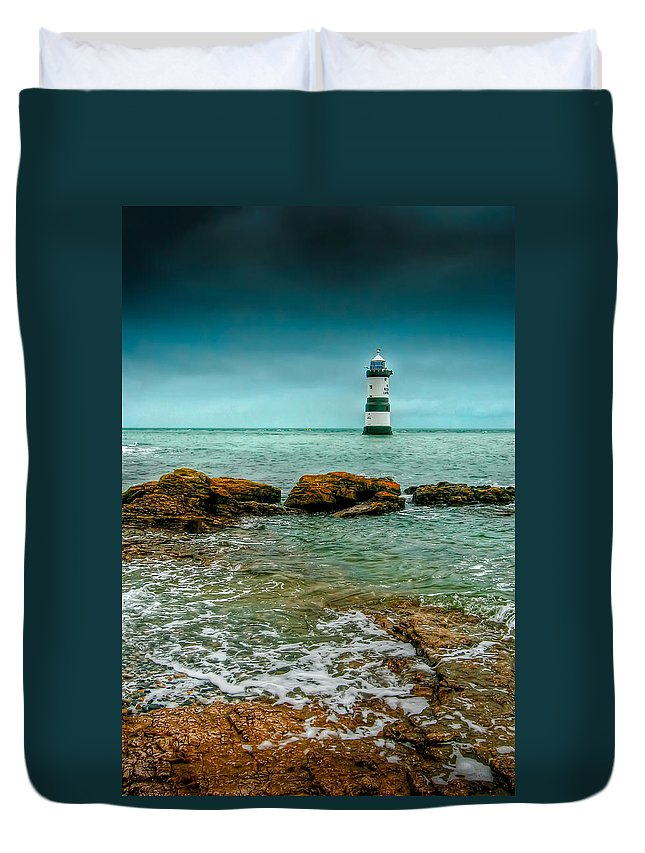 1838 Duvet Cover featuring the photograph Penmon Point by Adrian Evans