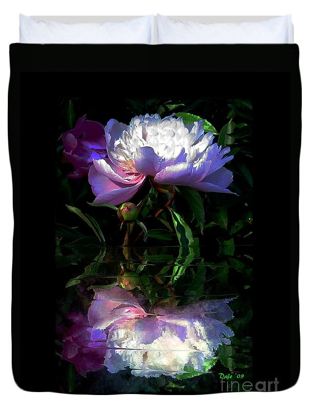 Flowers Duvet Cover featuring the digital art Peony Reflected by Dale  Ford