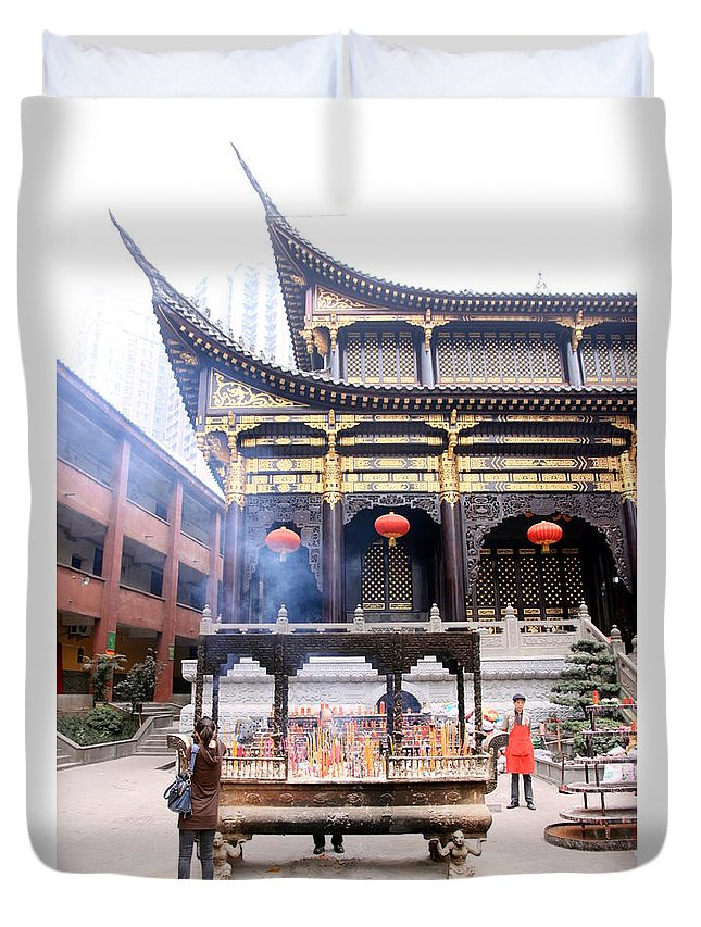 Temple Duvet Cover featuring the photograph People At The Buddhist Temple by Valentino Visentini
