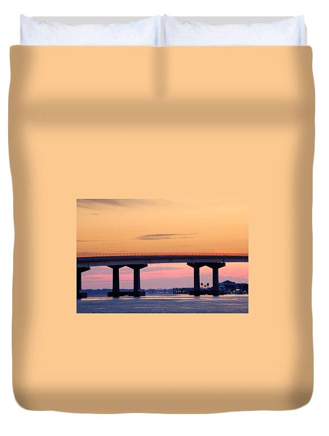 Alabama Photographer Duvet Cover featuring the digital art Perdido Bridge Sunrise Closeup by Michael Thomas