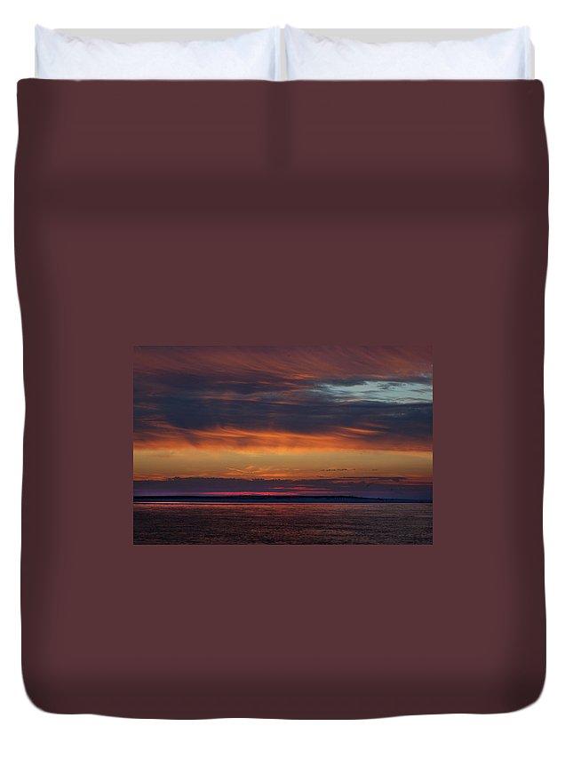Alabama Photographer Duvet Cover featuring the digital art Perdido Pass Red Sunrise by Michael Thomas