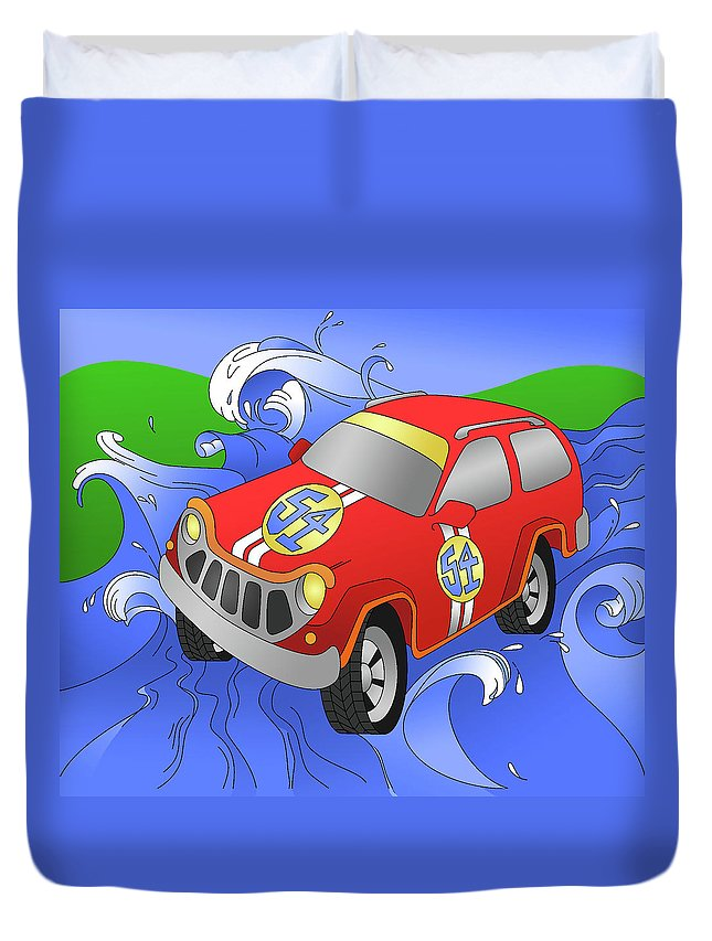 Car Duvet Cover featuring the digital art Performance by Alison Stein