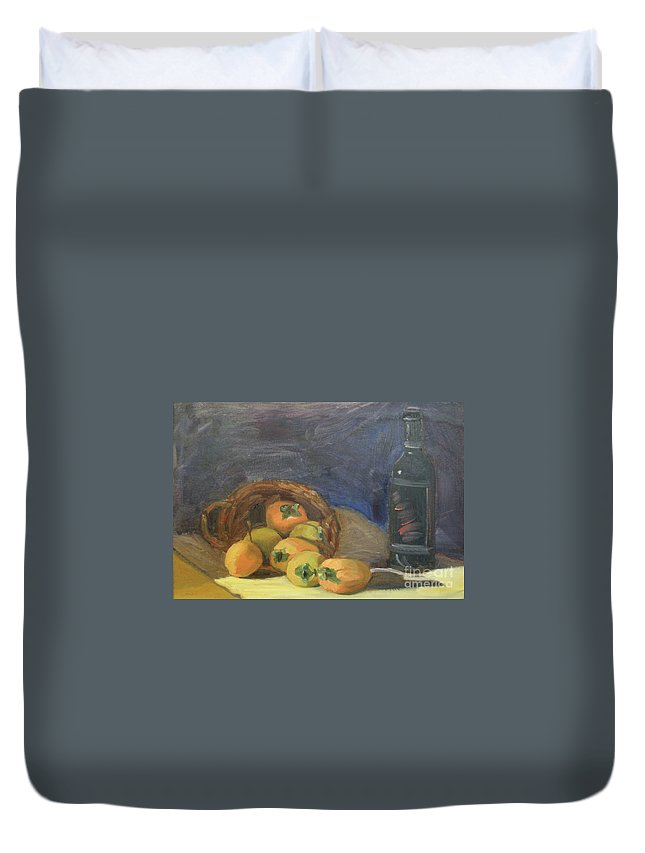 Still Life Duvet Cover featuring the painting Persimos Y Vino by Lilibeth Andre