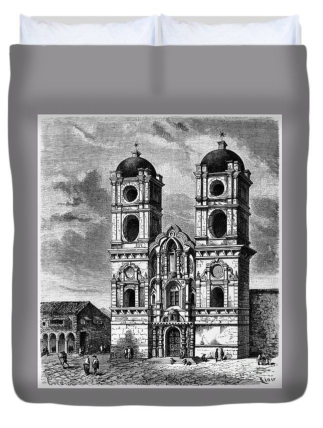 17th Century Duvet Cover featuring the photograph Peru: Jesuit Church, 1869 by Granger