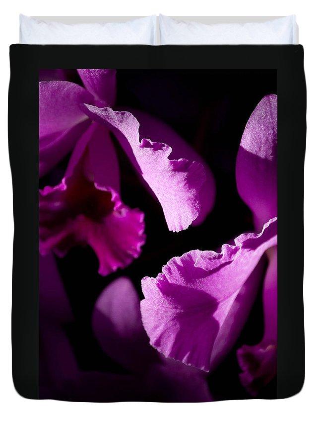 Purple Duvet Cover featuring the photograph Petals Galore by Trish Tritz
