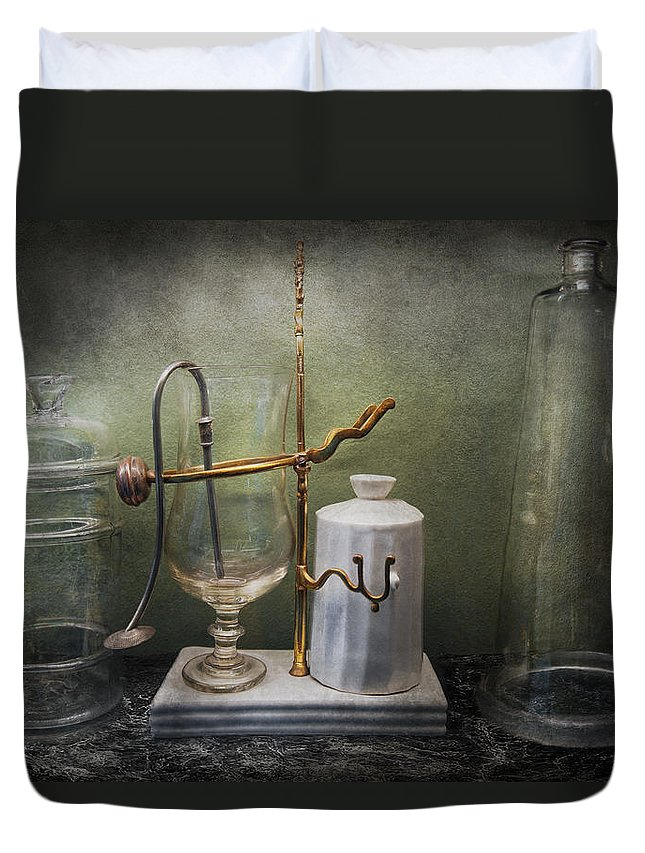 Apparatus Duvet Cover featuring the photograph Pharmacy - Victorian Apparatus by Mike Savad
