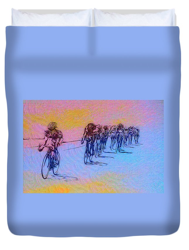 Philadelphia Bike Race Duvet Cover featuring the photograph Philadelphia Bike Race by Bill Cannon