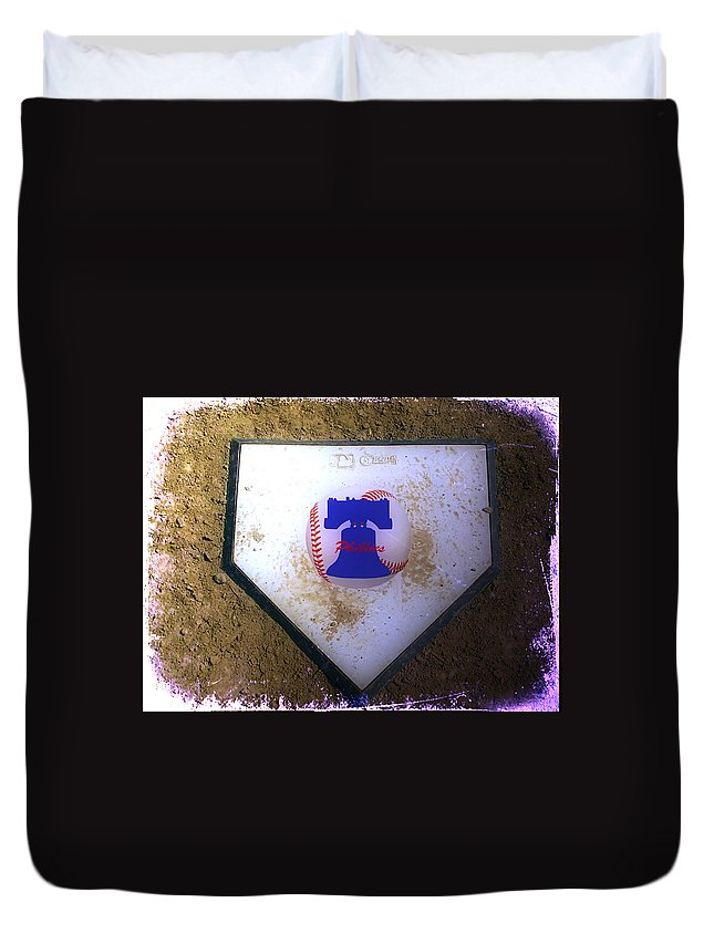 Phillies Duvet Cover featuring the photograph Phillies Home Plate by Bill Cannon
