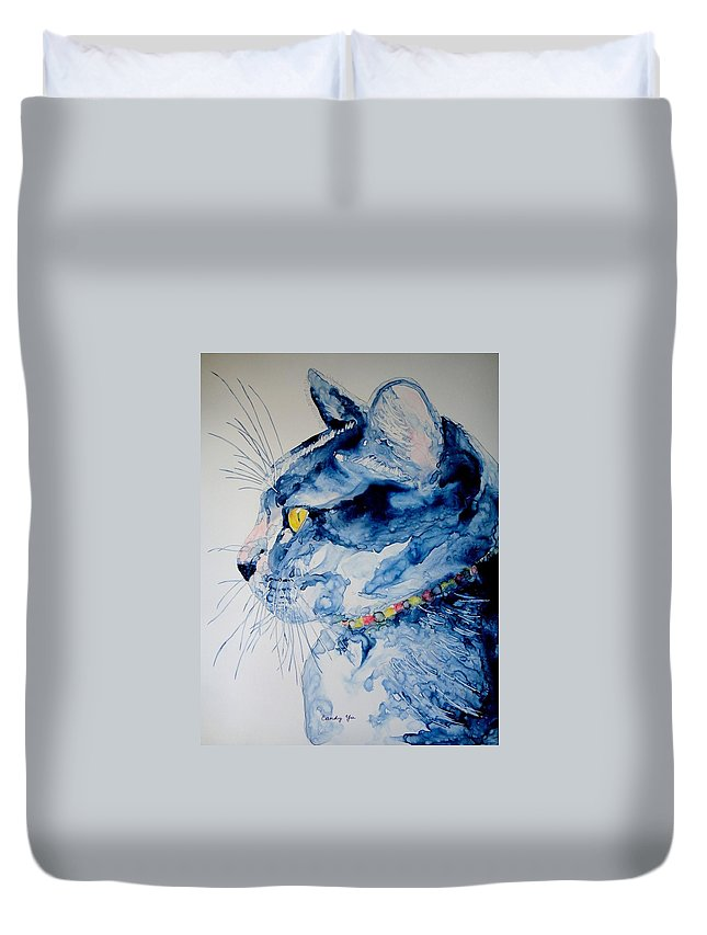 Animal Duvet Cover featuring the painting Philosopher by Candy Yu