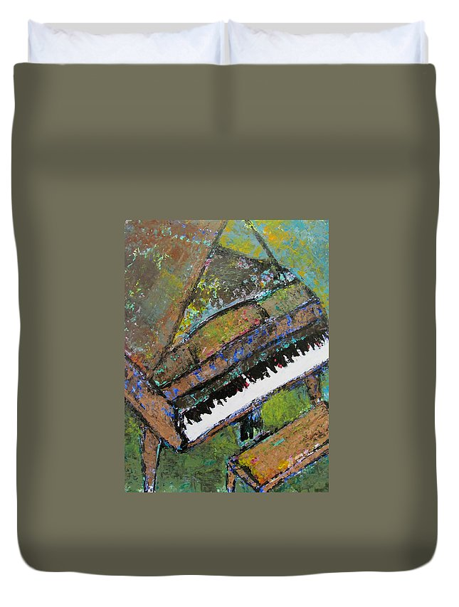 Music Duvet Cover featuring the painting Piano Aqua Wall - Cropped by Anita Burgermeister