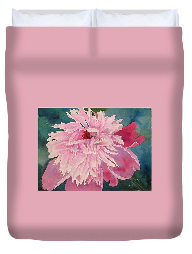 Peonies Duvet Cover featuring the painting Pick Me by Mohamed Hirji