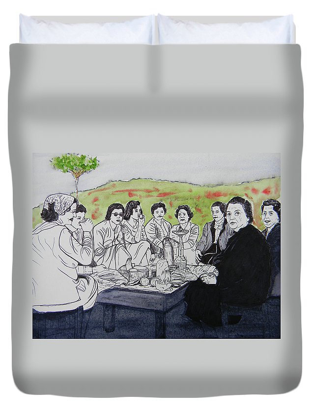 Southern Lebanon Duvet Cover featuring the painting Picnic In The Mountains by Marwan George Khoury