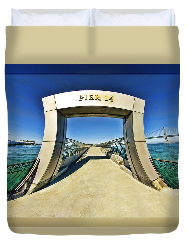 Art Photography Duvet Cover featuring the photograph Pier 14 by Blake Richards