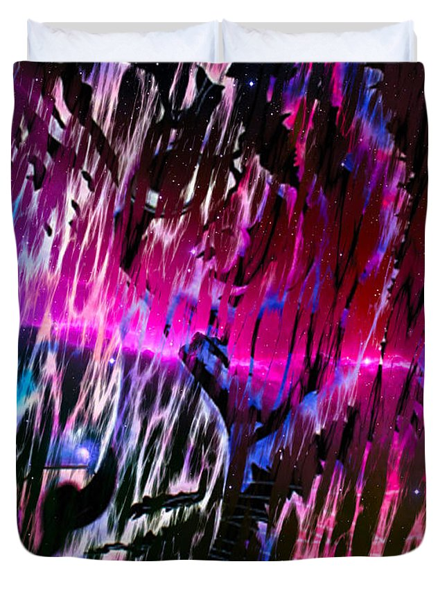 Surreal Paintings Photographs Duvet Cover featuring the digital art Piercing Aurora by Mayhem Mediums
