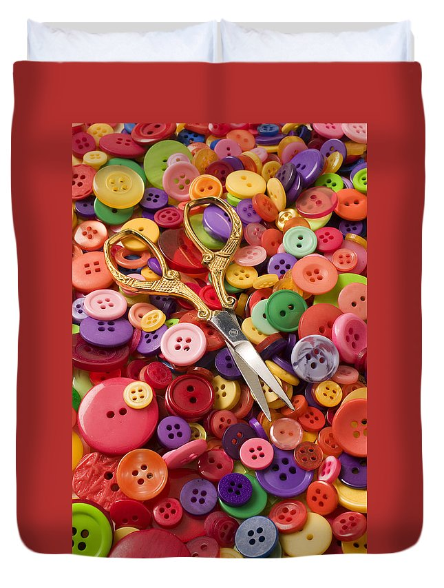 Button Duvet Cover featuring the photograph Pile Of Buttons With Scissors by Garry Gay