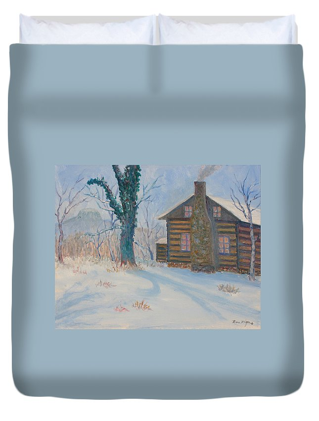 Pilot Mountain Duvet Cover featuring the painting Pilot Mountain Lodge by Ben Kiger