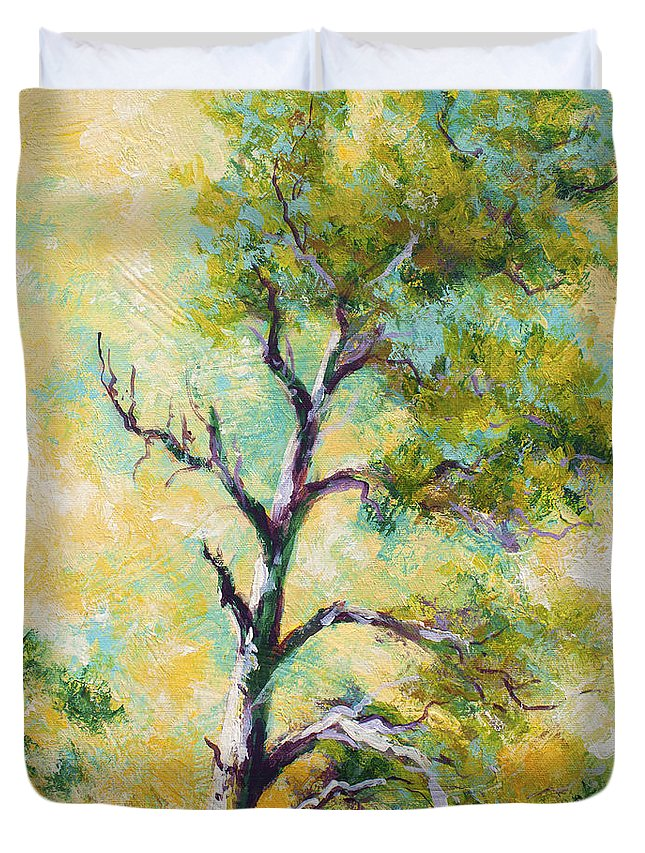 Tree Duvet Cover featuring the painting Pine Abstract by Marion Rose