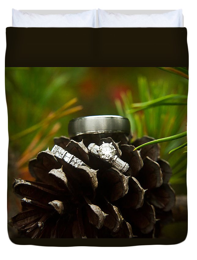 Romance Duvet Cover featuring the photograph Pine Cone And Wedding Band by Douglas Barnett