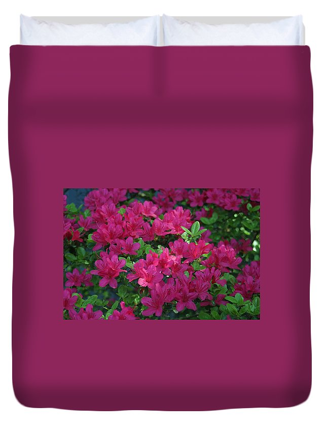 Duvet Cover featuring the photograph Pink Along The Fence by Barbara S Nickerson