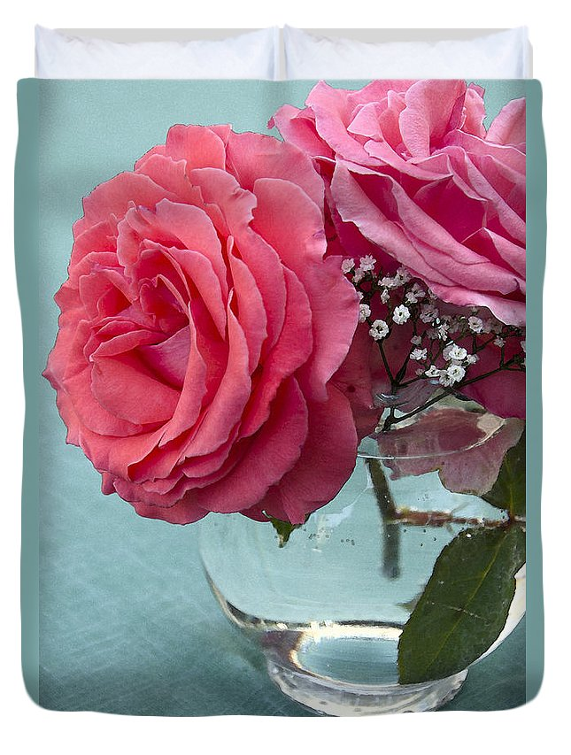 Rose Duvet Cover featuring the photograph Pink And Aqua Roses by Jim And Emily Bush