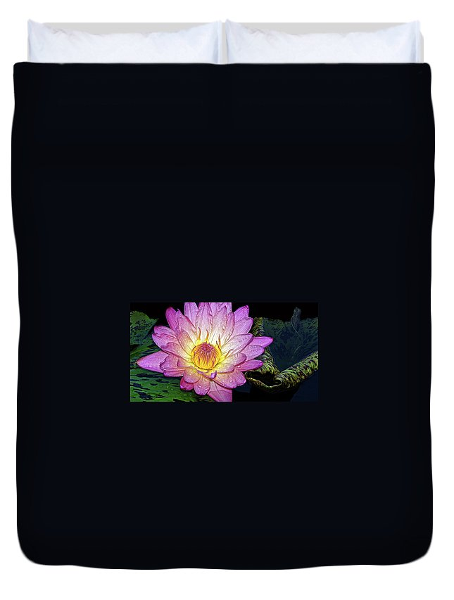 Waterlily Duvet Cover featuring the photograph Pink And Yellow Waterlily by Dave Mills