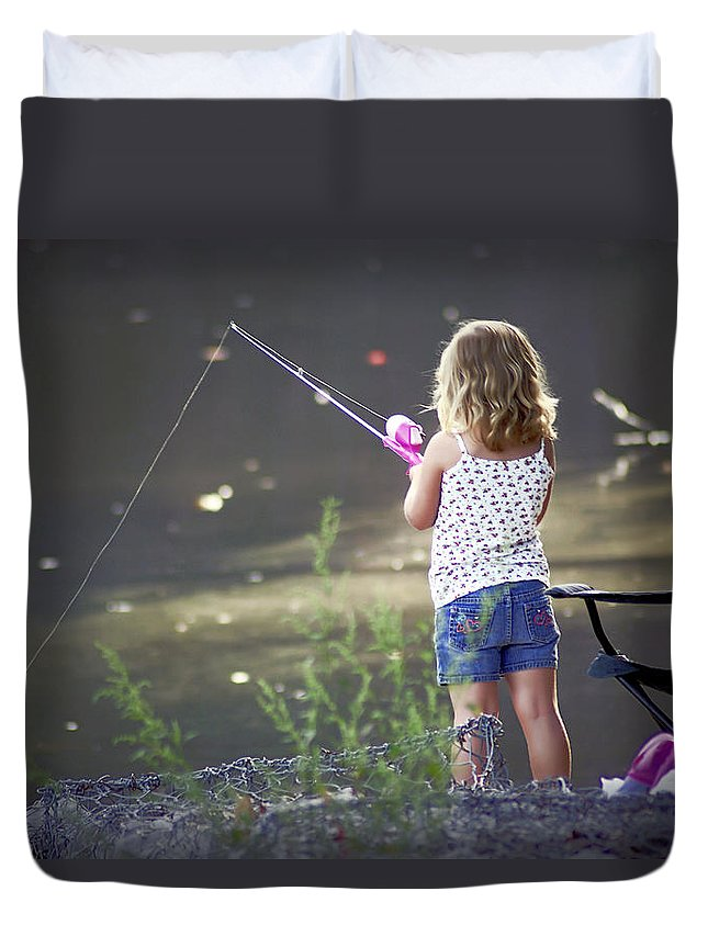 2d Duvet Cover featuring the photograph Pink Fishing Rod by Brian Wallace