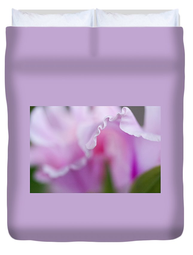 Gladiola Duvet Cover featuring the photograph Pink Gladiola Ruffles by Kathy Clark