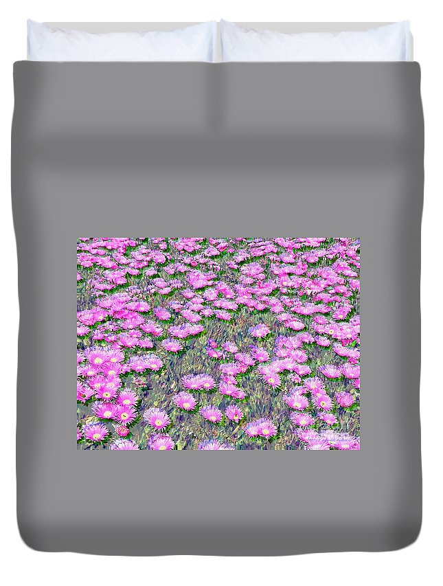 Pink Ice Plant Flowers Digital Painting Duvet Cover featuring the photograph Pink Ice Plant Flowers by Afroditi Katsikis