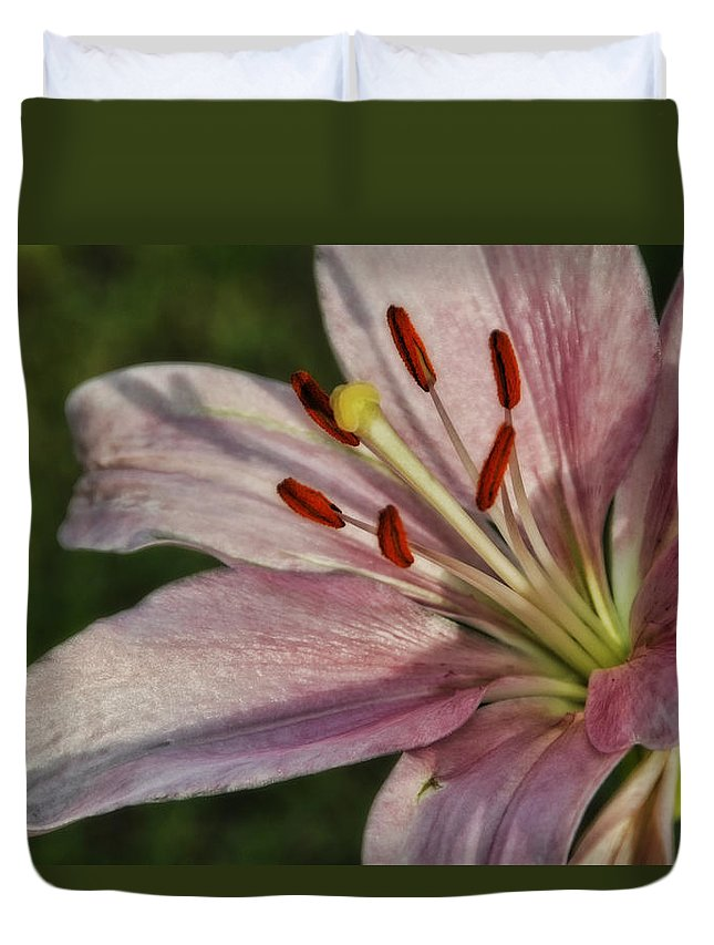Pink Lilly Duvet Cover featuring the photograph Pink Lilly by Saija Lehtonen