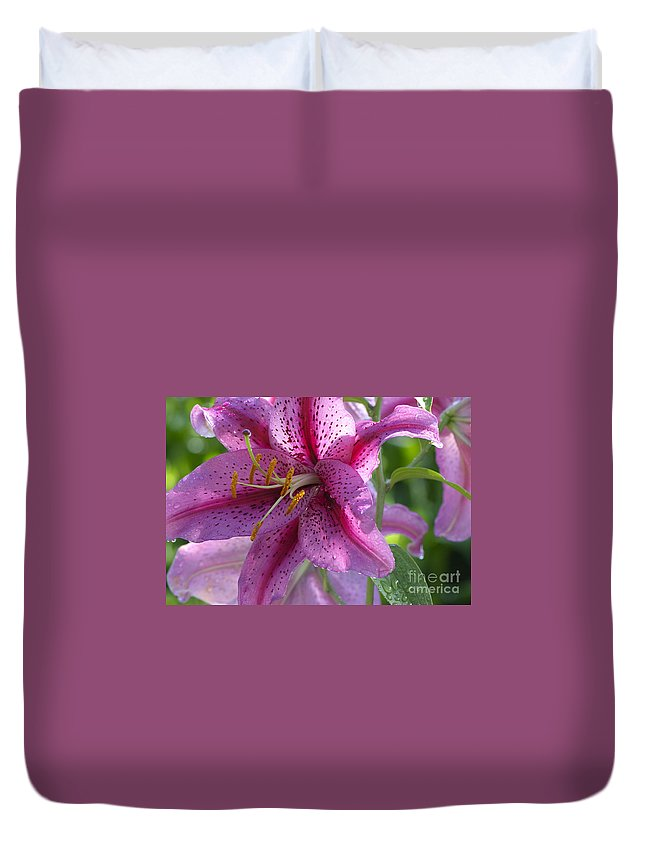 Asiatic Lily Duvet Cover featuring the photograph Pink Lily After The Rain by Sharon Talson