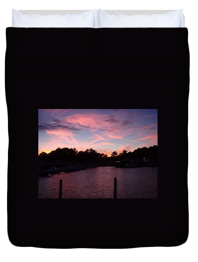 Pink Duvet Cover featuring the photograph Pink N Blue Sunset On The Chesapeake Bay Va by Sven Migot