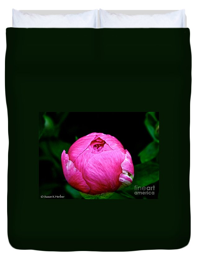 Plant Duvet Cover featuring the photograph Pink Peony Bud by Susan Herber