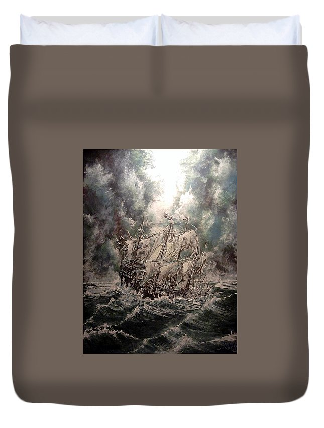 Seascape Duvet Cover featuring the painting Pirate Islands 2 by Robert Tarrant