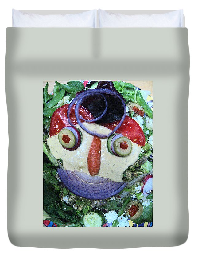 Salad Face Duvet Cover featuring the photograph Pirate Salad Saturday by Kym Backland