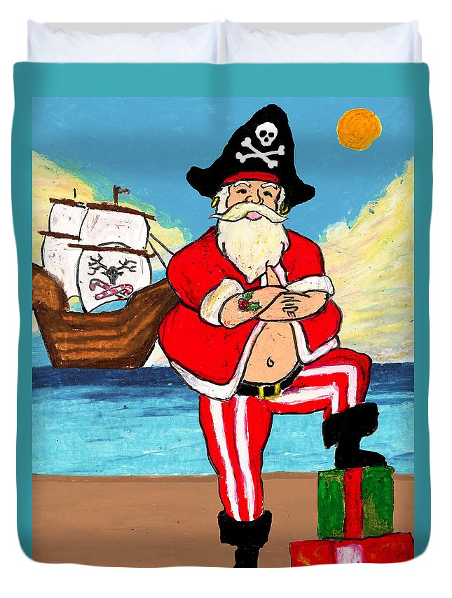 Christmas Duvet Cover featuring the mixed media Pirate Santa by William Depaula