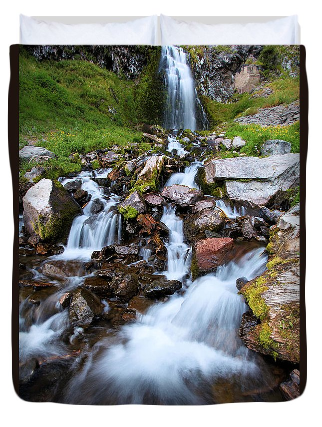 Waterfalls Duvet Cover featuring the photograph Plaikni Falls by Adam Jewell
